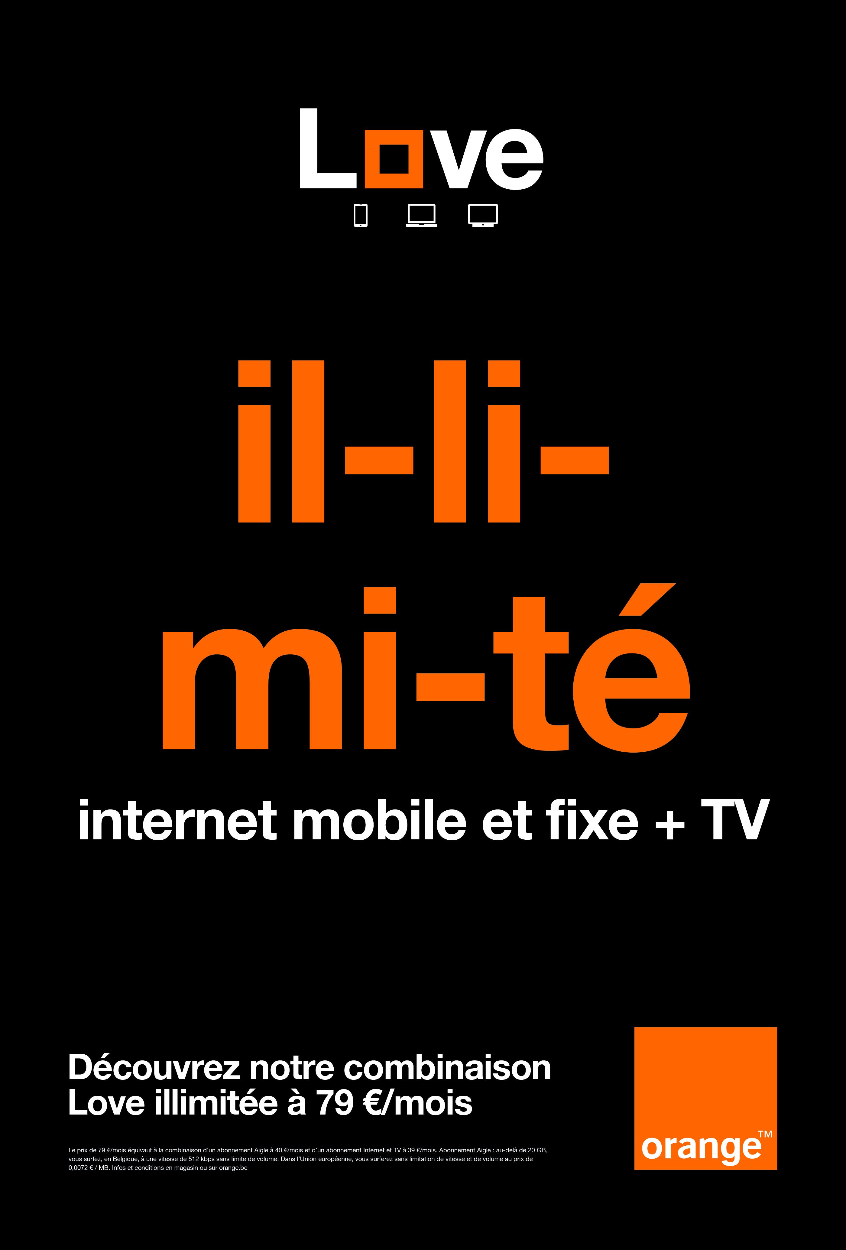 orange pr sente love unlimited la premi re offre mobile internet et tv vraiment illimit e du. Black Bedroom Furniture Sets. Home Design Ideas